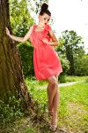 3502-2 tulle dress with a decorative flower - Watermelon